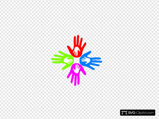 Four Colored Hands 4