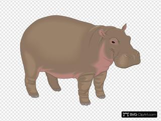 Brown And Purple Hippopotamus