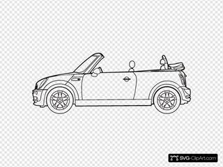 Mini Cooper Convertible SVG Clipart
