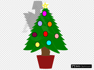 Christmas Tree With Rainbow Color Ornaments