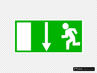 Green Emergency Exit - Down