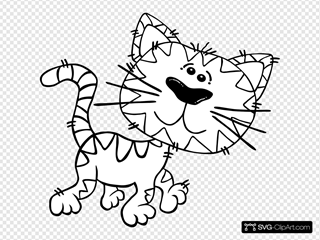 Cartoon Cat Walking Outline