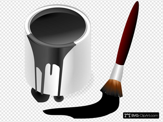Black Paint Bucket With Paint Brush