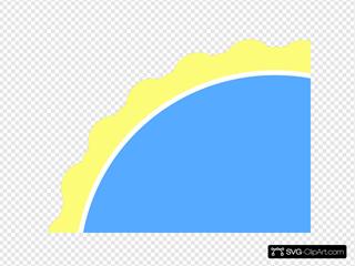 Yellow & Blue Scallop Circle Frame