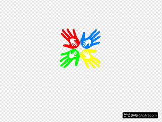 Four Colored Hands 45 Degree