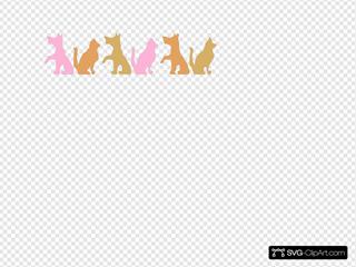 Pink And Light Brown Melange Doggies And Kitties
