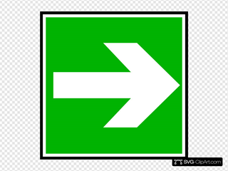 White Arrow In A Green Rectangle