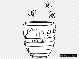 Bees Around A Honey Pot