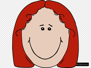 Red Haired Lady Face Cartoon