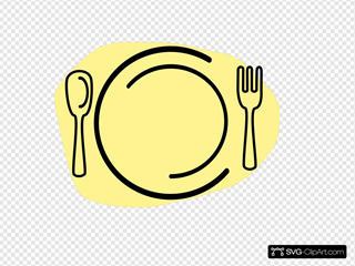 Iammisc Dinner Plate With Spoon And Fork SVG Clipart