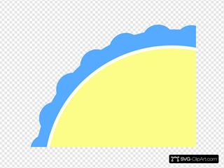 Light Blue & Pale Yellow Scallop Circle Frame