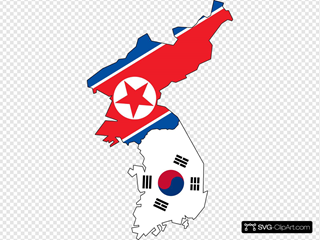 North South Korea Flag Map