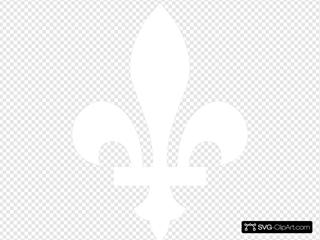 Quebec Fleur De Lys In White