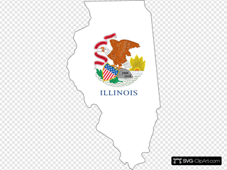Illinois Outline With Flag