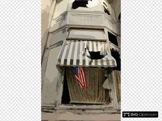 Flag On A Soot Covered Building