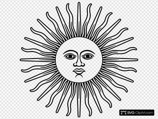 Sun With Face Outline