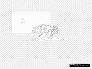 Black And White California Flag