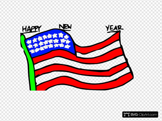Happy New Year Us Flag