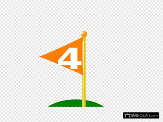 Golf Flag 4th Hole Bold White Number
