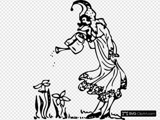 Pixie Watering Flowers Illustration