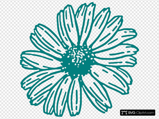 Daisy In Teal Clip art, Icon and SVG - SVG Clipart