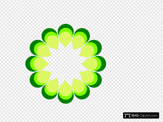 Geometric Flower Green SVG Clipart