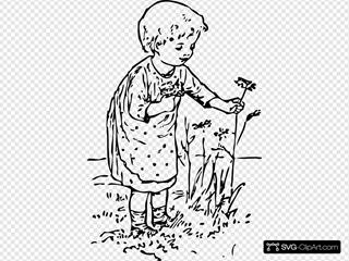 Kid Picking Flowers
