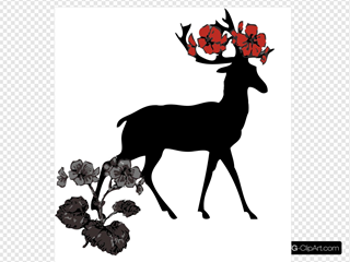 Deer With Red Flowers