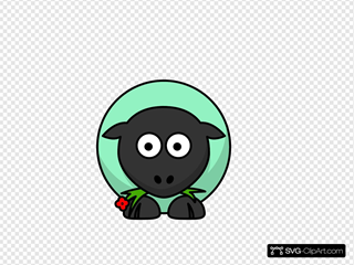 Sheep - Mint Red Flower Eyes