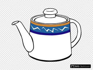 Porclain Tea Kettle SVG Clipart