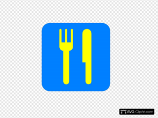 Blue Yellow Restaurant Sign