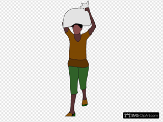 African Lady Carrying Food Over Her Head