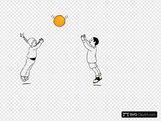 Playing Ball Line Drawing