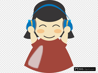 Girl With Headphones SVG Clipart