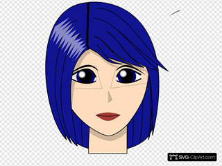 Blue Hair Girl  Head Face
