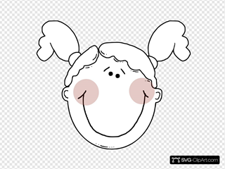 Blushing Girl With Pigtails Outline