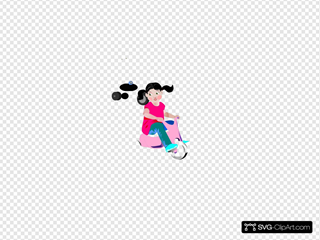 Girl Riding A Pink Tricycle