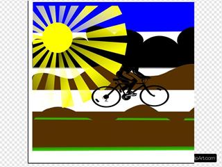 Sun Landscape With Girl Riding Bike