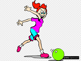 Girl Playing With A Bowling Ball