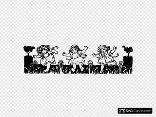 Girls Running SVG Clipart