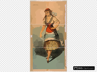 [chorus Girl In Striped Skirt And Striped Socks] SVG Clipart