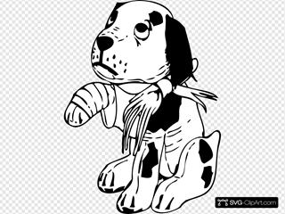 Sad Dog With A Broken Leg