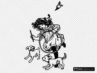 Girl Playing With Dogs SVG Clipart