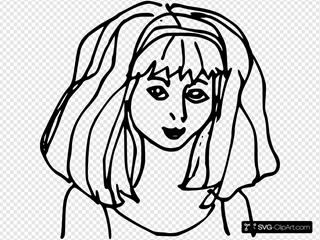 Cartoon Girl Outline