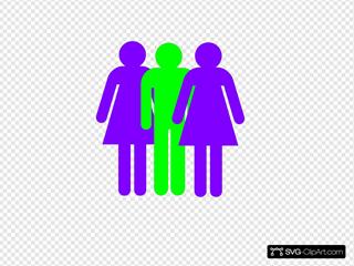 Boy And 2 Girls Stick Figure - Green Purple