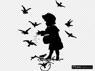 Girl Feeding Birds Silhouette