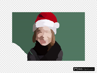 Girl With Santa Hat Large For