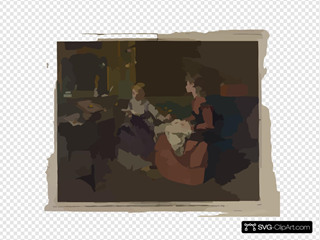 [two Girls, One Reading, One Sewing]