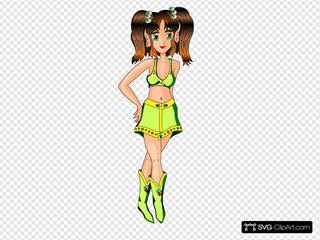 Cartoon Anime Girl SVG Clipart