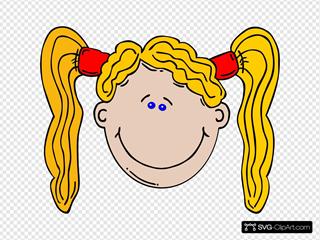 Cartoon Girl With Long Yellow Hair